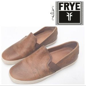 FRYE Dylan leather slip on Shoes 6 sneakers brown